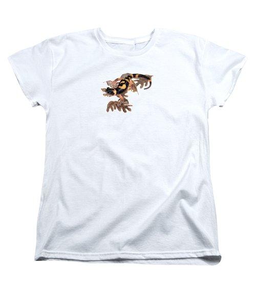 Large Blotched Salamander On Oak Leaves Women's T-Shirt (Standard Cut) by Cindy Hitchcock
