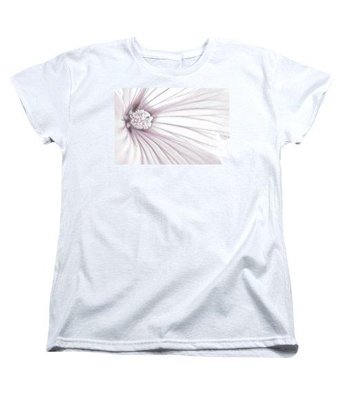 Women's T-Shirt (Standard Cut) featuring the photograph Lavatera Flower Stamen Macro  by Sandra Foster
