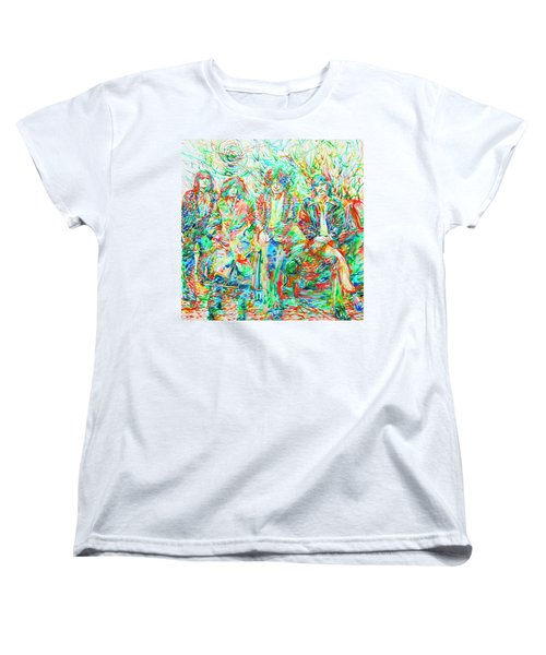 Led Zeppelin - Watercolor Portrait.1 Women's T-Shirt (Standard Cut) by Fabrizio Cassetta