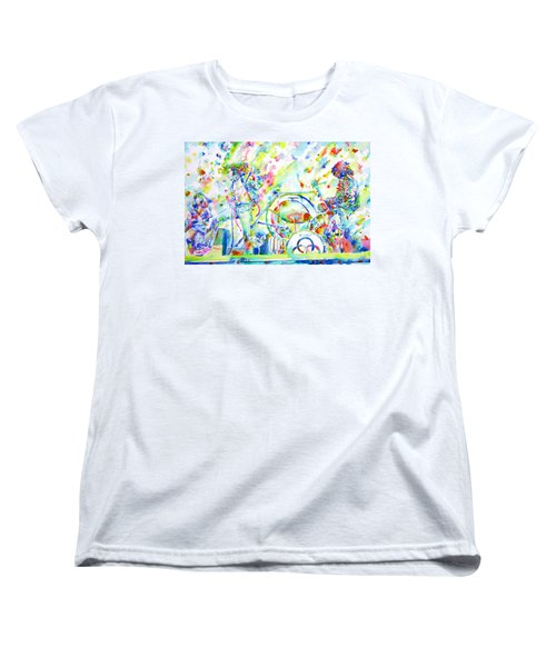 Led Zeppelin Live Concert - Watercolor Painting Women's T-Shirt (Standard Cut) by Fabrizio Cassetta