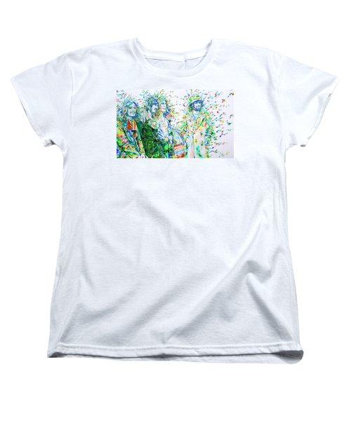 Led Zeppelin - Watercolor Portrait.2 Women's T-Shirt (Standard Cut) by Fabrizio Cassetta
