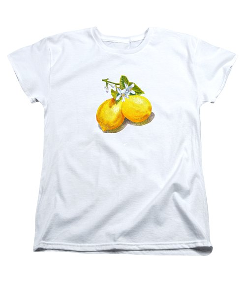 Women's T-Shirt (Standard Cut) featuring the painting Lemons And Blossoms by Irina Sztukowski