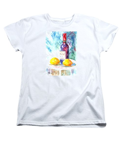 Women's T-Shirt (Standard Cut) featuring the painting Lemons And Wine And A Little Sunshine by Carol Wisniewski