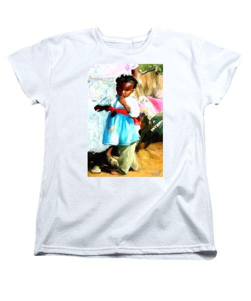 Women's T-Shirt (Standard Cut) featuring the painting Lil Girl  by Vannetta Ferguson