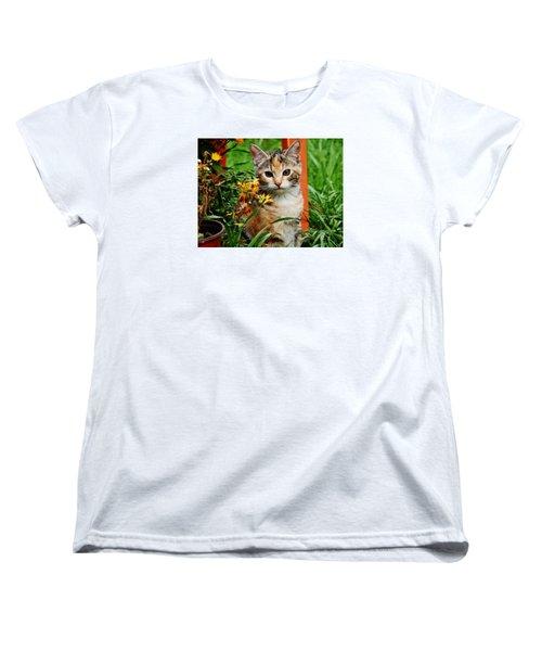 Women's T-Shirt (Standard Cut) featuring the photograph Lily Garden Cat by VLee Watson