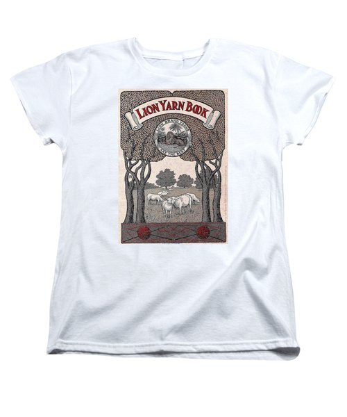 Women's T-Shirt (Standard Cut) featuring the drawing Antique Lion Yarn Book by Peter Gumaer Ogden