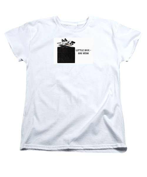 Women's T-Shirt (Standard Cut) featuring the photograph Black Present With A Silver Bow by Vizual Studio
