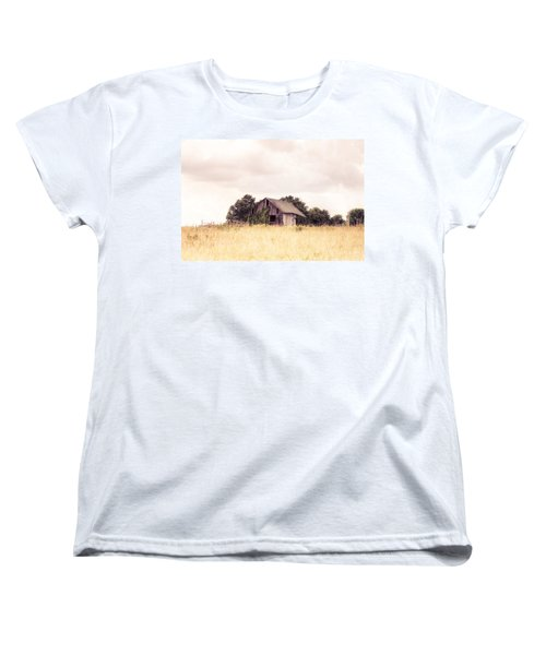Women's T-Shirt (Standard Cut) featuring the photograph Little Old Barn In A Field - Landscape  by Gary Heller