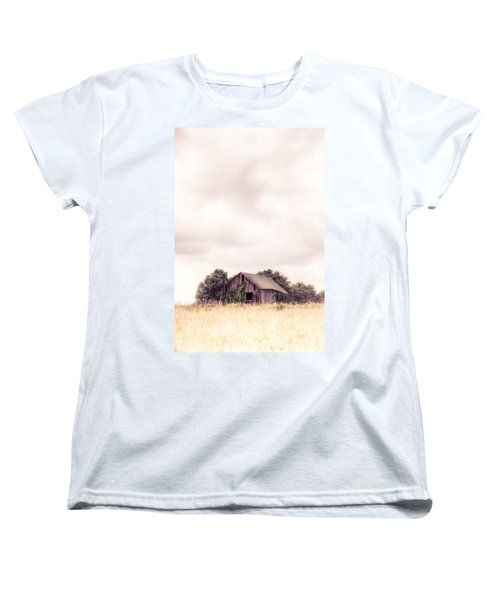 Women's T-Shirt (Standard Cut) featuring the photograph Little Old Barn In The Field - Ontario County New York State by Gary Heller