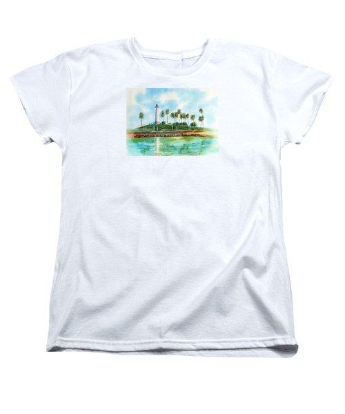 Long Beach Lighthouse  Version 2 Women's T-Shirt (Standard Cut) by Debbie Lewis