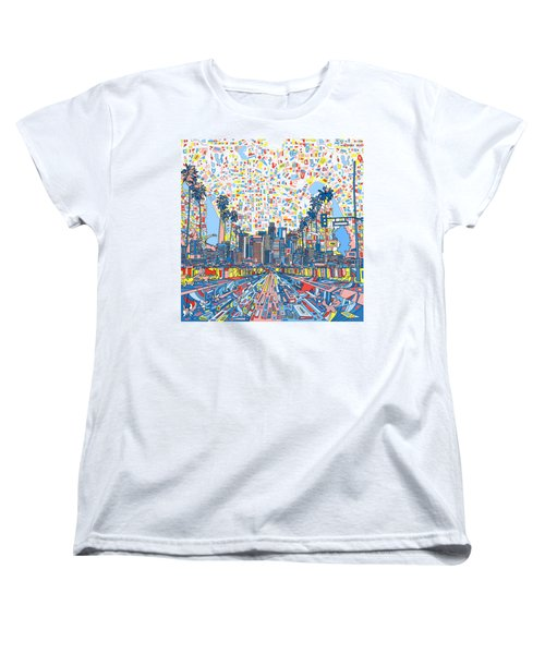 Los Angeles Skyline Abstract 3 Women's T-Shirt (Standard Cut) by Bekim Art