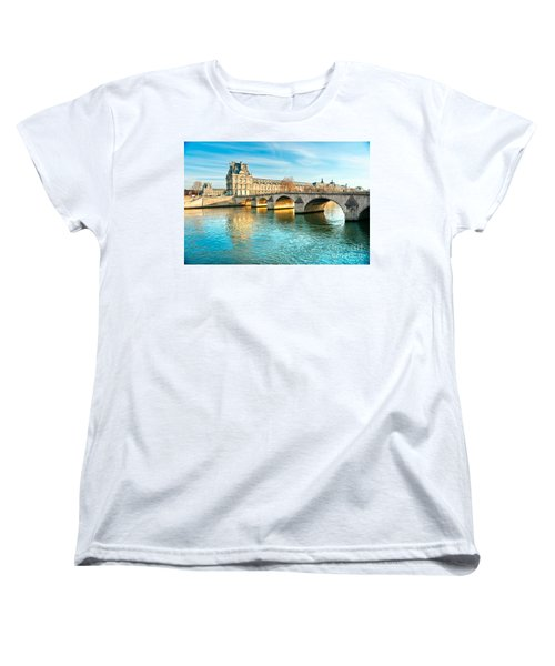 Louvre Museum And Pont Royal - Paris  Women's T-Shirt (Standard Cut) by Luciano Mortula