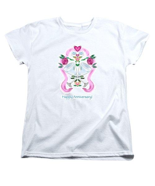 Women's T-Shirt (Standard Cut) featuring the digital art Love Birds Anniversary by Christine Fournier