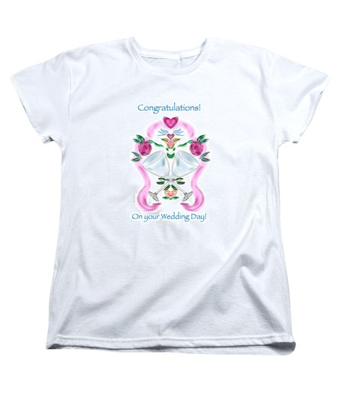 Women's T-Shirt (Standard Cut) featuring the digital art Love Birds White Wedding by Christine Fournier