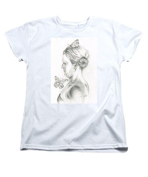Women's T-Shirt (Standard Cut) featuring the drawing Loves- Her Butterflies by Teresa White