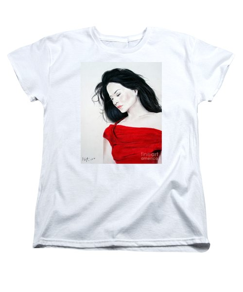 Lucy Liu The Lady In Red Women's T-Shirt (Standard Cut) by Jim Fitzpatrick