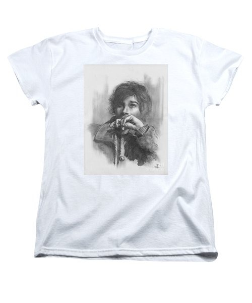 Women's T-Shirt (Standard Cut) featuring the drawing Lucy by Paul Davenport