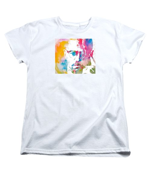 Malcolm X Watercolor Women's T-Shirt (Standard Cut) by Dan Sproul