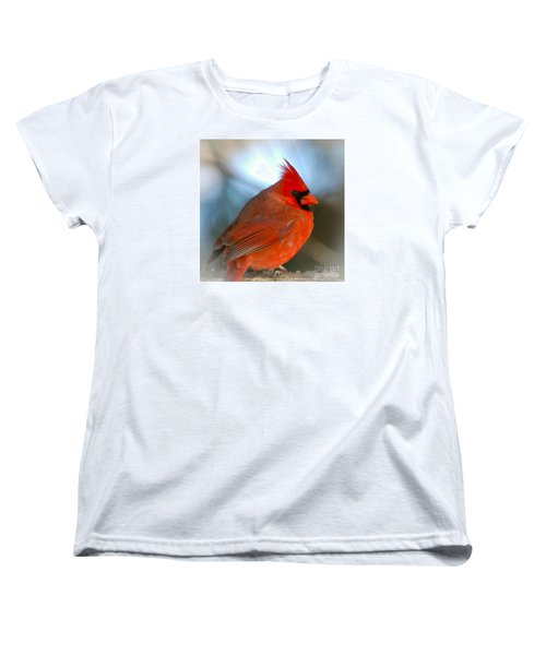 Women's T-Shirt (Standard Cut) featuring the photograph Male Cardinal  by Kerri Farley