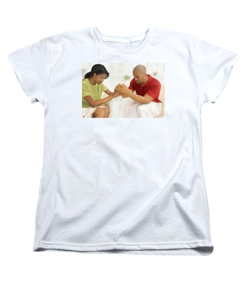 Women's T-Shirt (Standard Cut) featuring the painting Man And Wife Pray by Vannetta Ferguson