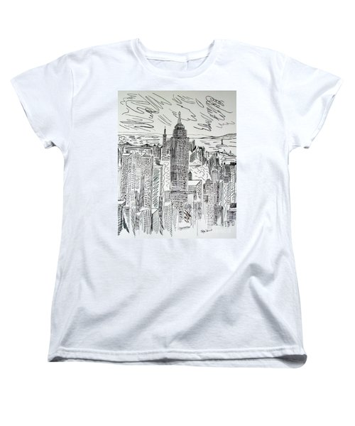 Women's T-Shirt (Standard Cut) featuring the drawing Manhattan by Janice Rae Pariza