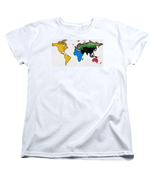 Map Digital Art World Women's T-Shirt (Standard Cut) by Georgi Dimitrov