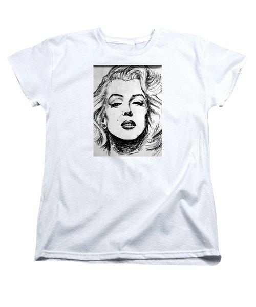 Women's T-Shirt (Standard Cut) featuring the painting Marilyn Monroe by Salman Ravish