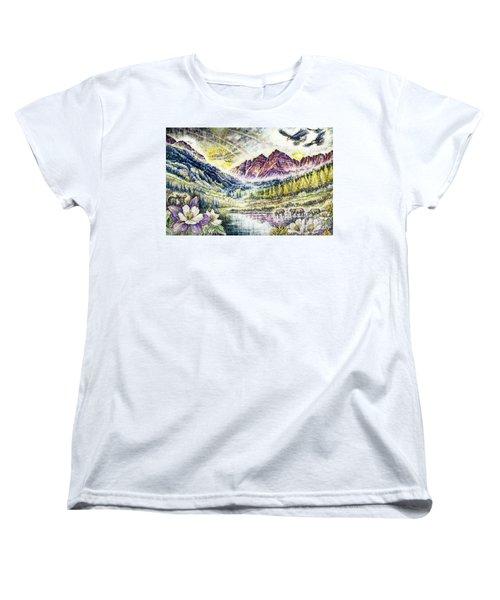 Maroon Bells  Women's T-Shirt (Standard Cut) by Scott and Dixie Wiley