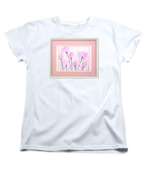 Women's T-Shirt (Standard Cut) featuring the painting Marsh Flowers by Ron Davidson