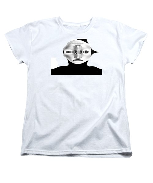 Women's T-Shirt (Standard Cut) featuring the painting Mask Black And White by Rafael Salazar