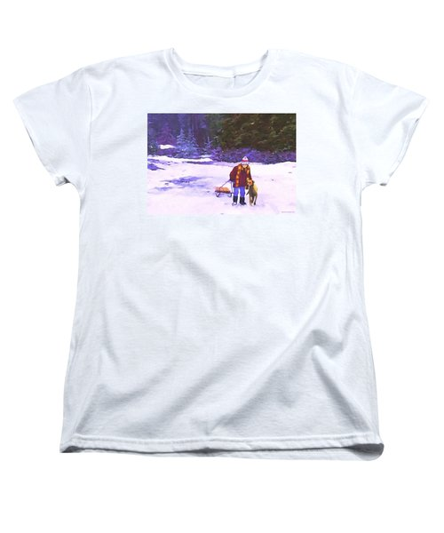 Women's T-Shirt (Standard Cut) featuring the painting Me And My Buddy by Sophia Schmierer