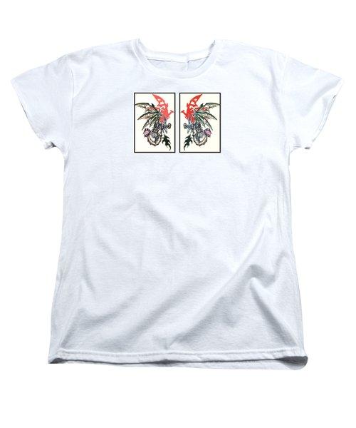 Mech Dragons Collide Women's T-Shirt (Standard Cut) by Shawn Dall