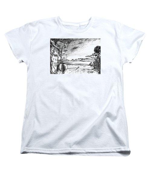 Women's T-Shirt (Standard Cut) featuring the drawing Mediterranean Cat by Teresa White