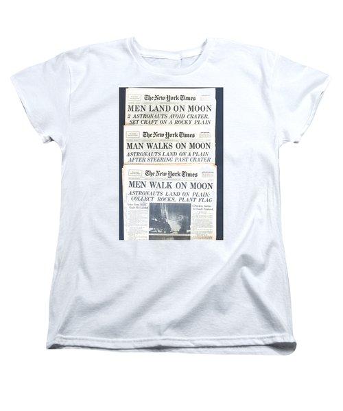 Men Walk On The Moon Women's T-Shirt (Standard Cut) by Kenneth Cole