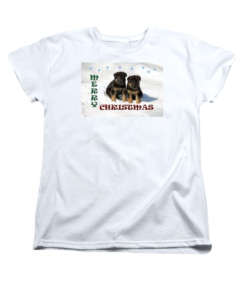Merry Christmas Puppies Women's T-Shirt (Standard Cut) by Aimee L Maher Photography and Art Visit ALMGallerydotcom