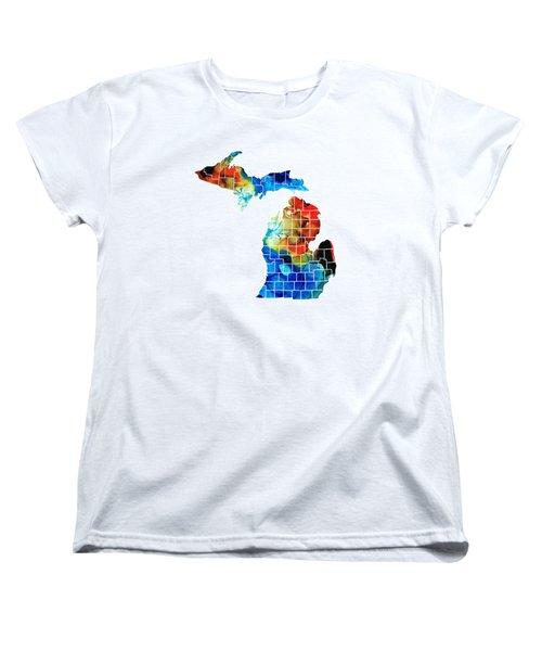 Michigan State Map - Counties By Sharon Cummings Women's T-Shirt (Standard Cut)
