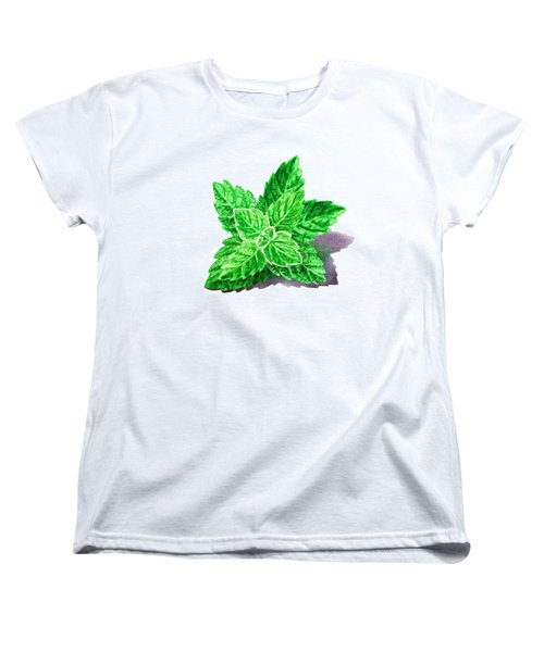 Women's T-Shirt (Standard Cut) featuring the painting Mint Leaves by Irina Sztukowski