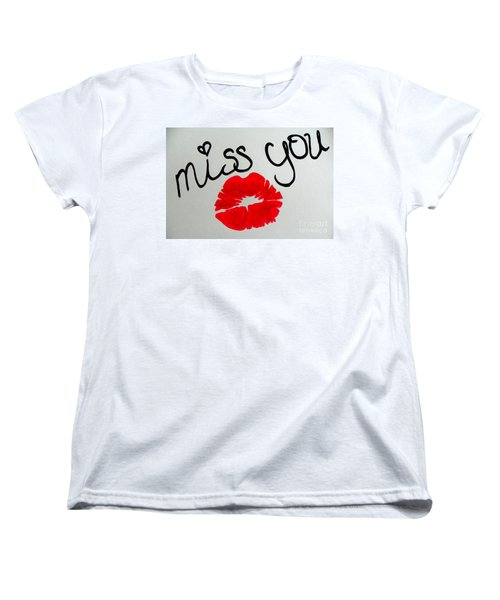 Women's T-Shirt (Standard Cut) featuring the painting Miss You  by Marisela Mungia