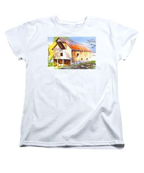 Missouri Barn In Watercolor Women's T-Shirt (Standard Cut) by Kip DeVore