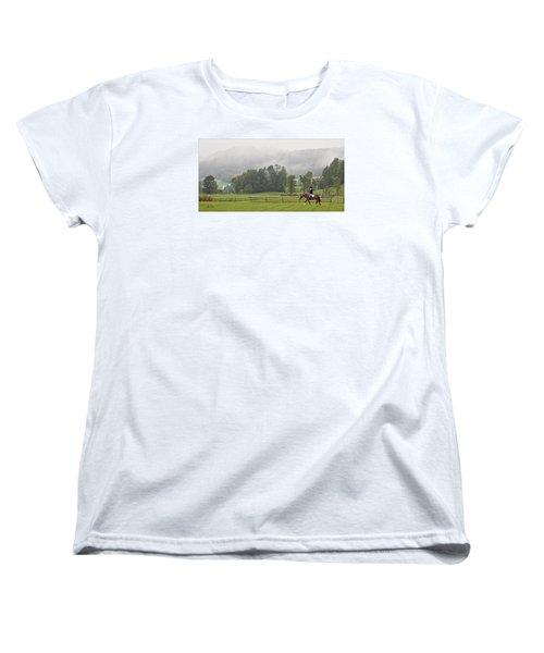 Women's T-Shirt (Standard Cut) featuring the photograph Misty Morning Ride by Joan Davis