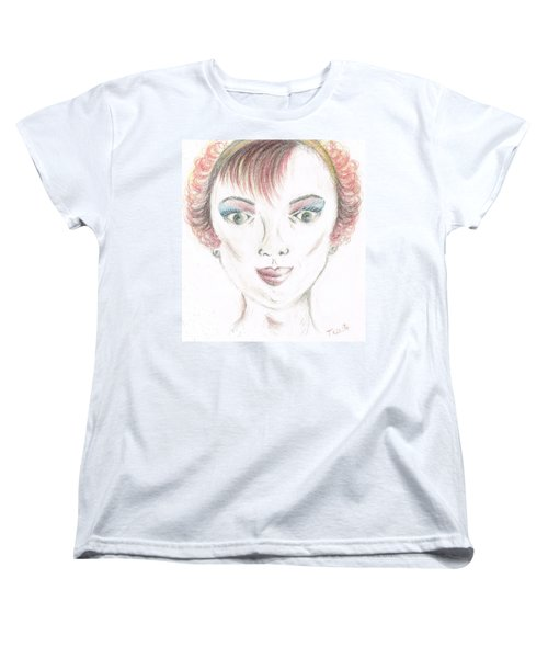 Women's T-Shirt (Standard Cut) featuring the drawing Mollys Makeover/ Pink Day by Teresa White