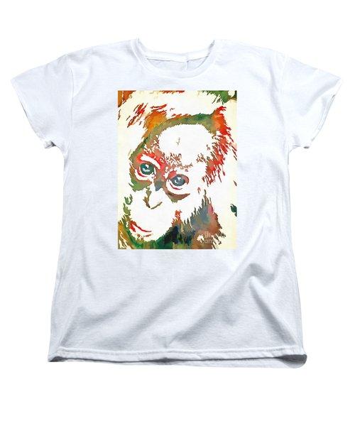 Monkey Pop Art Women's T-Shirt (Standard Cut) by Catherine Lott