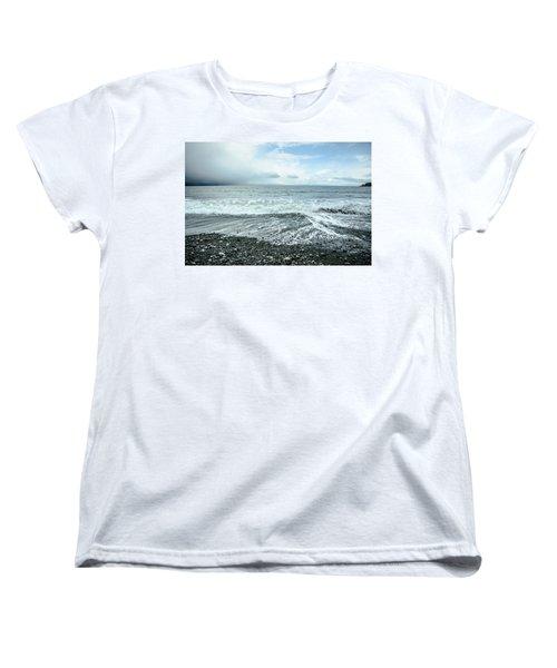 Moody Waves French Beach Women's T-Shirt (Standard Cut) by Roxy Hurtubise