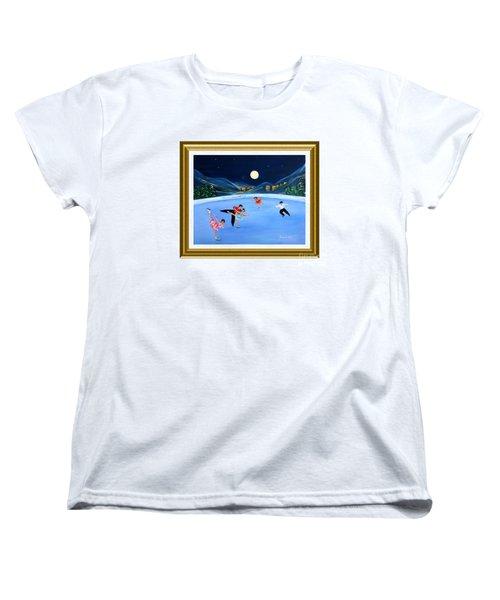 Moonlight Skating. Inspirations Collection. Card Women's T-Shirt (Standard Cut) by Oksana Semenchenko