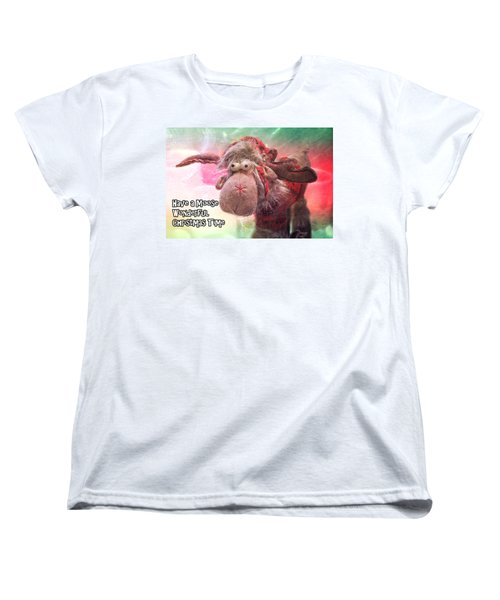 Women's T-Shirt (Standard Cut) featuring the photograph Moose Wonderful Christmas Time by Janie Johnson