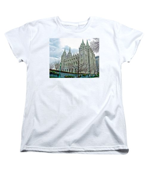 Mormon Temple In Early Spring Women's T-Shirt (Standard Cut) by Gary Holmes