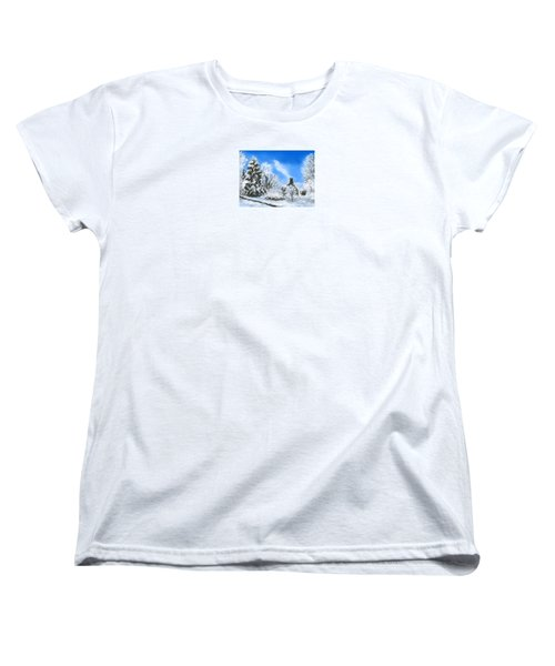 Women's T-Shirt (Standard Cut) featuring the painting Morning After The Snowstorm  by Jean Pacheco Ravinski