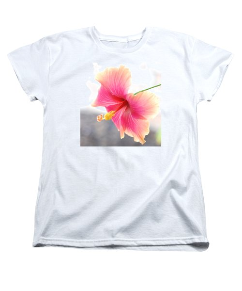 Morning Hibiscus In Gentle Light - Square Macro Women's T-Shirt (Standard Cut) by Connie Fox