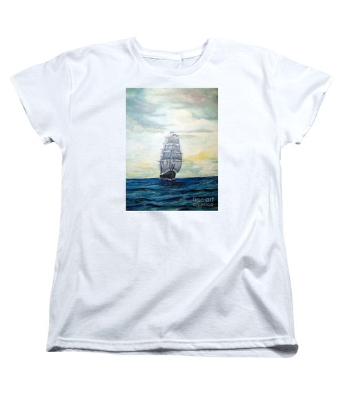 Women's T-Shirt (Standard Cut) featuring the painting Morning Light On The Atlantic by Lee Piper