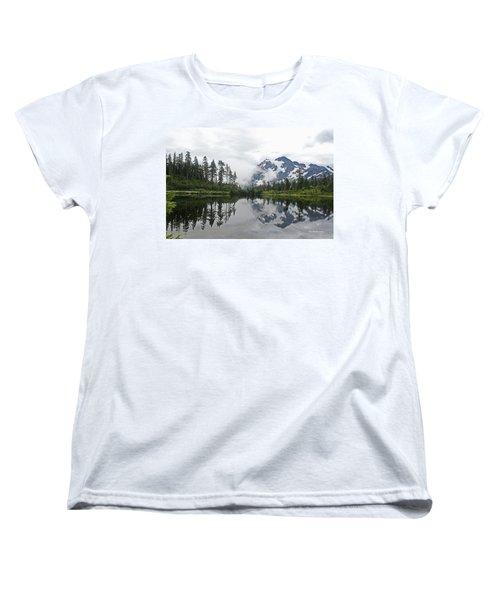 Women's T-Shirt (Standard Cut) featuring the photograph Mount Baker- Lake- Fir Trees And  Fog by Tom Janca